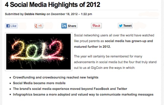 social media highlights of 2012